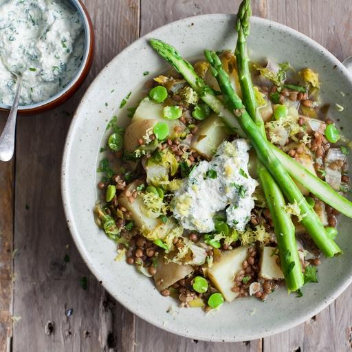 Springtime Stew & Whipped Herb Tofu