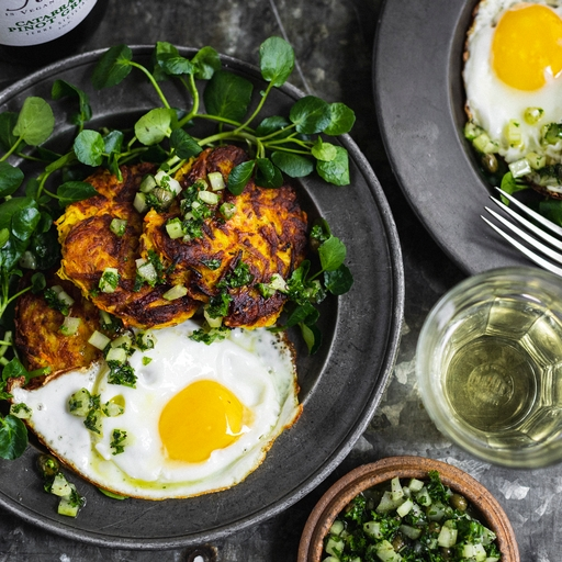 Spiced Root Rostis & Egg with Celery Salsa