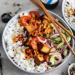 Teriyaki Tofu Stir-fry & Quick Pickled Veg
