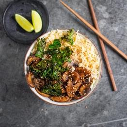 Hoisin Mushrooms, Egg Fried Rice & Crispy Five-spice Kale