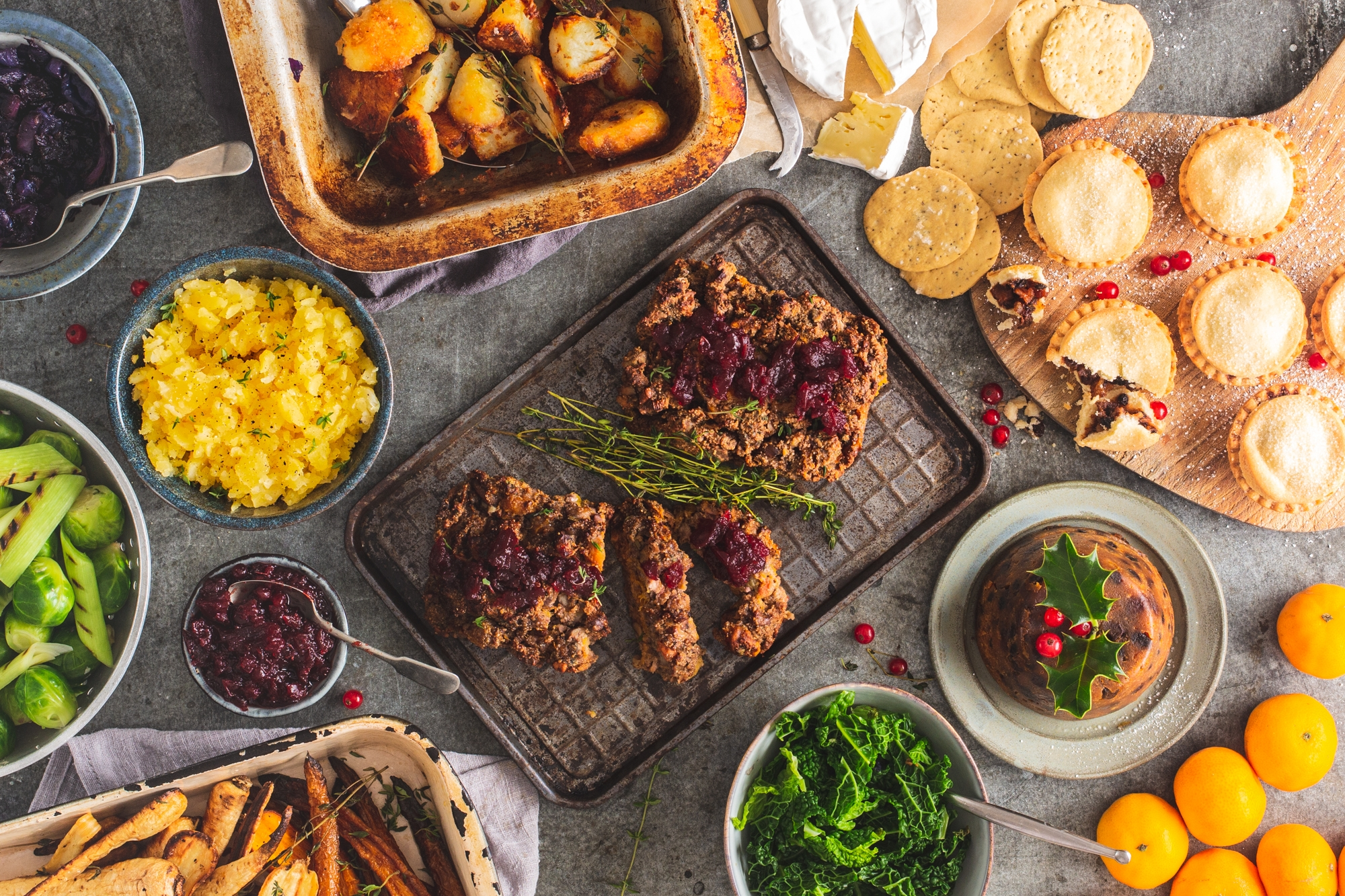 Vegetarian Christmas dinner box with nut roast