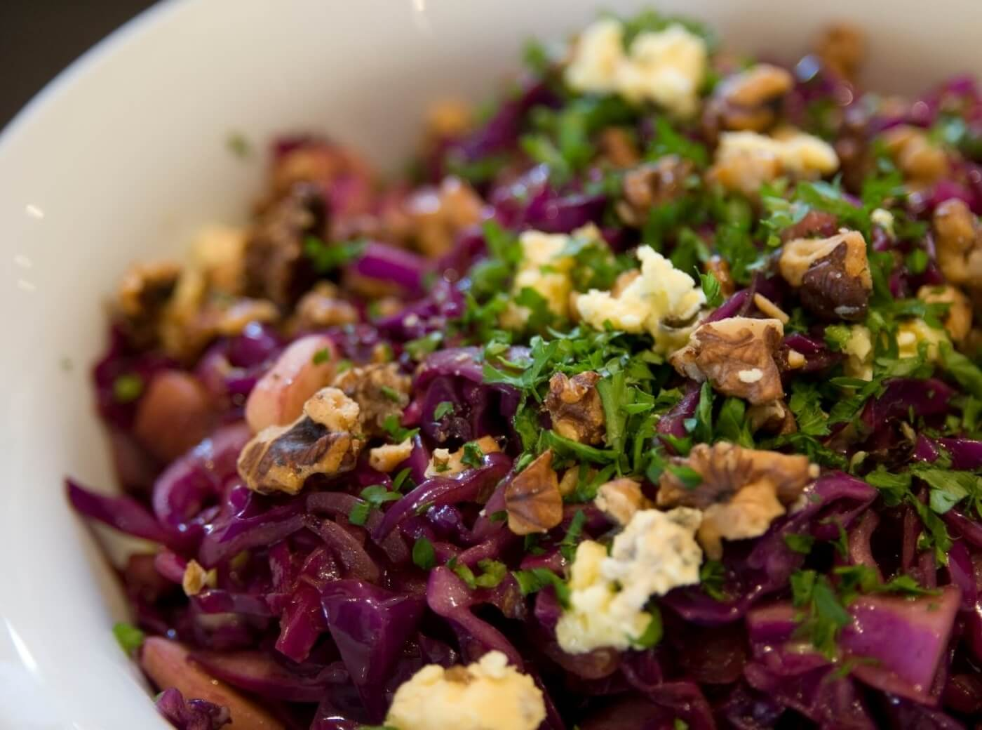 Warm Red Cabbage Salad With Toasted Walnuts And Blue Cheese Riverford
